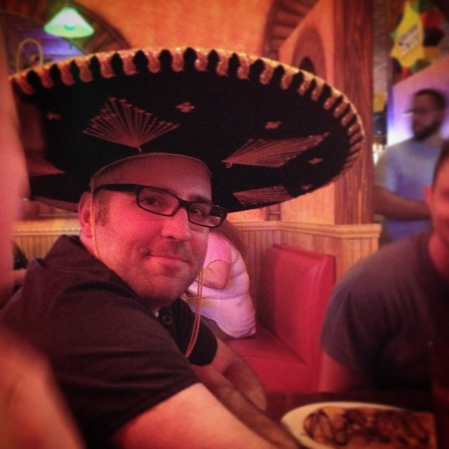 My best amigo endures the sombrero.   #becauseJayisthebest