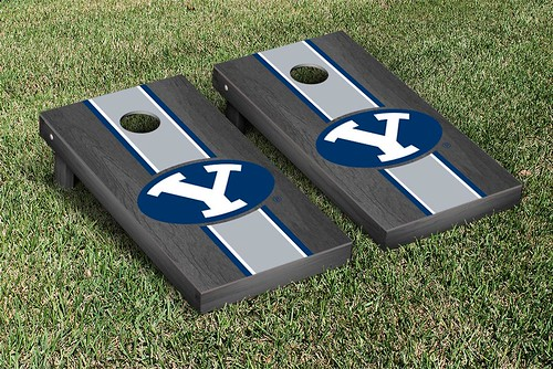 25382 - Brigham Young University BYU Cougars Cornhole Game Set Onyx Stained Stripe Version 2