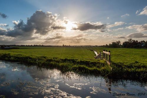 sun water sunrise fence ditch land polder zon dorp gouda reeuwijk bodegraven waddinxveen middelburgseweg