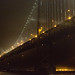 Bay Bridge lights in the fog
