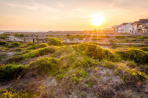 ocean travel sunset summer vacation beach northcarolina atlanticocean beachhouse oakisland