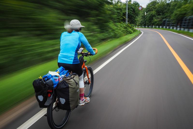 Speeding downhill to Akan, Hokkaido, Japan