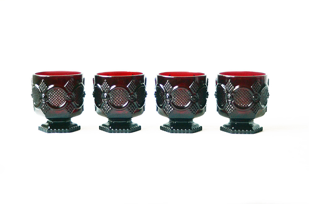 Four Vintage Blood Red Footed Goblet Tumbler Glasses, Avon Cape Cod