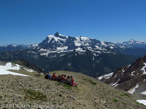 Soaking in the beauty of Mount Shuksan while eating lunch, Ptarmigan Ridge Trail, Mount Baker-Snoqualmie National Forest, Washington