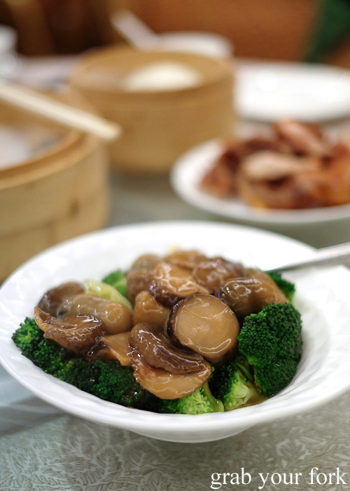 Mushrooms with broccoli at Asiania Retaurant, Wan Chai, Hong Kong