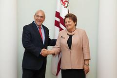 Ministru prezidente Laimdota Straujuma tiekas ar OECD ģenerālsekretāru Anhelu Gurriju