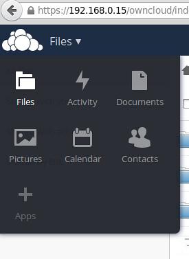 Pantalla de ownCloud en un proyecto alternativo a Dropbox