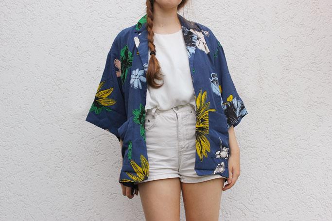 Blogger Kimono - kimono zara blogger floral print - high waist shorts outfit blogger trend sommer - zara doppellagiges top