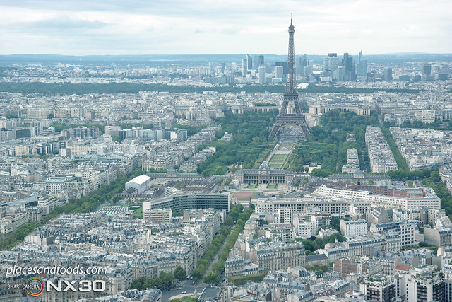 paris eiffel tower landscape from top
