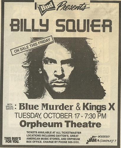 10/17/89 Billy Squier/ Blue Murder/ King's X @ Orpheum Theatre, Minneapolis, MN
