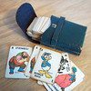 Vintage 1940s Disney playing cards in leather case