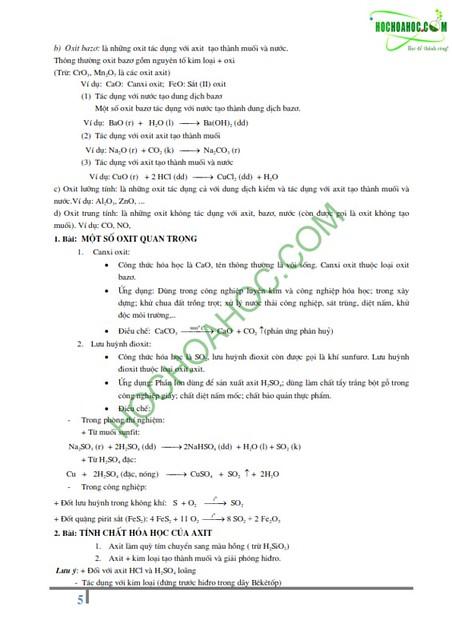 Bài tập Hóa học nâng cao dành cho lớp 9