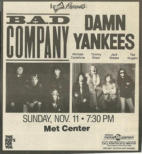 11/10/90 Bad Company/ Damn Yankees @ Met Center, Bloomington, MN