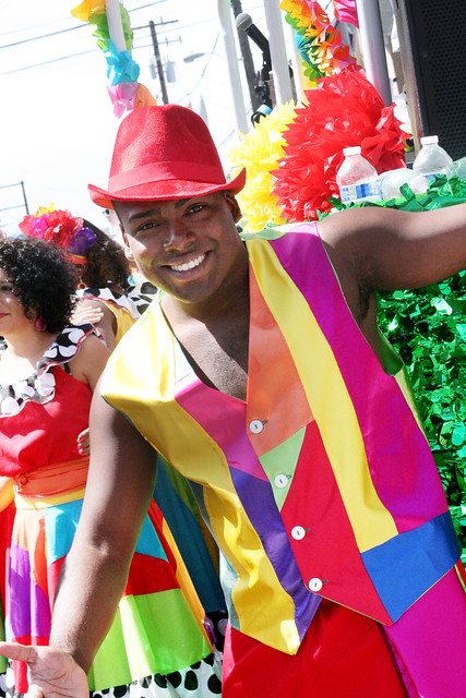 Smiling Man in Colorful Costume