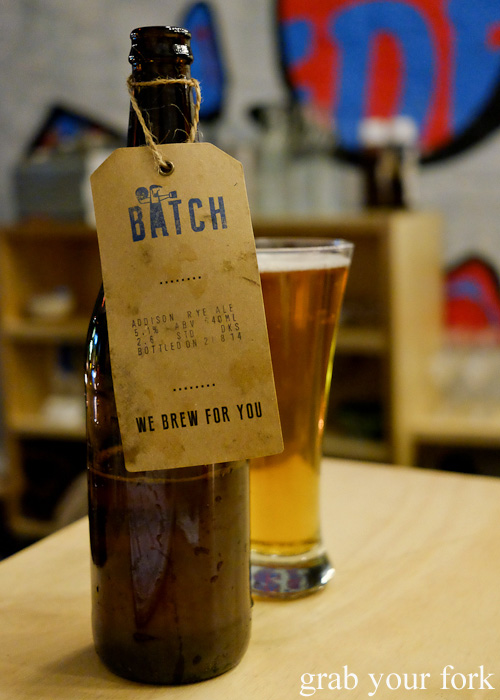 Batch Brewery Addison rye ale at Devon by Night, Surry Hills
