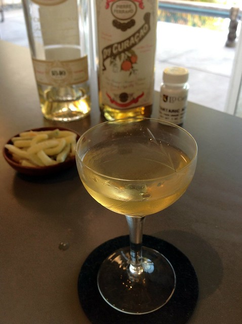 Side Caress with Pierre Ferrand 1840 cognac, dry curaçao, and tartaric acid