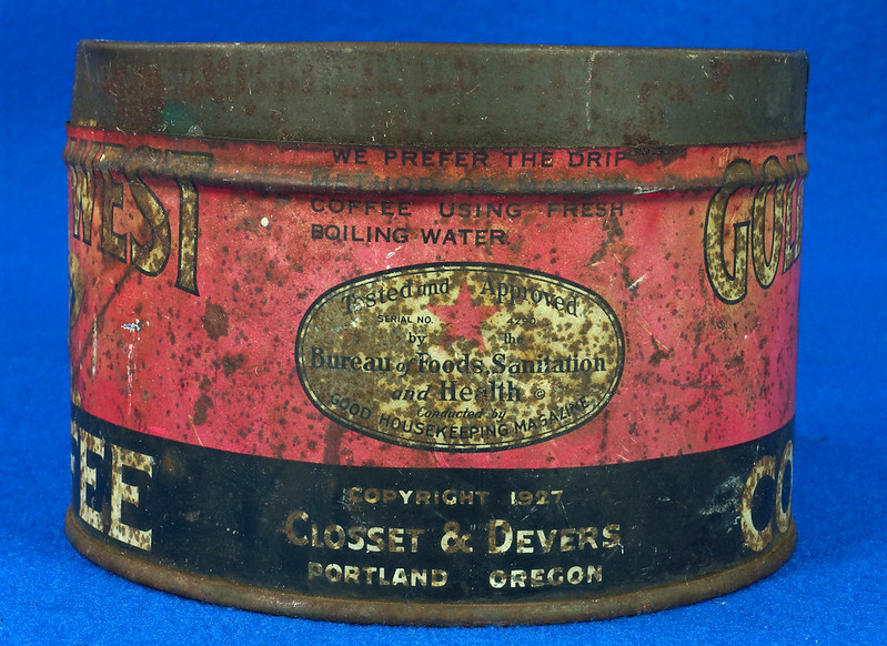 RD15323 Vintage 1927 Golden West Coffee Can Tin 1 lb. Cowgirl DSC09107