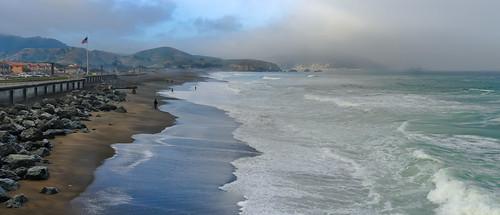 ocean california morning panorama color beach june fog sunrise spring nikon pacific over shoreline large panoramic shore bayarea pacifica stitched 2014 sanmateocounty d700