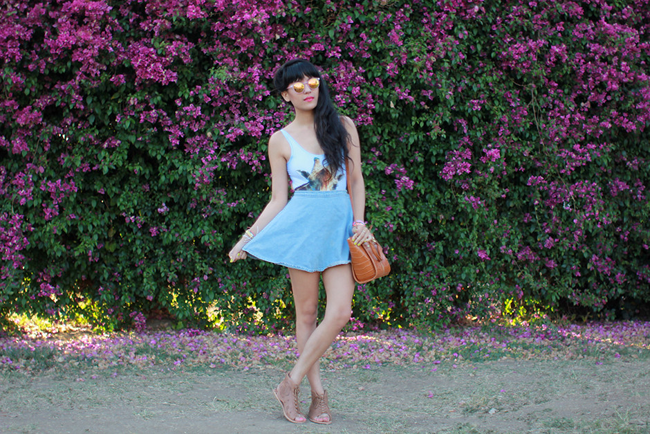 Poprageous Giraffe bodysuit, American Apparel denim circle skirt, Danielle Nicole purse bag, Hipanema and Pura Vida bracelets, Koolaburra sandals