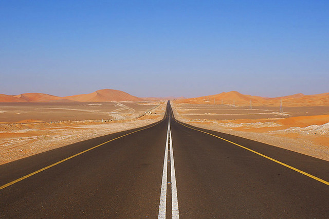 Desert road by Nepenthes, Creative Commons.