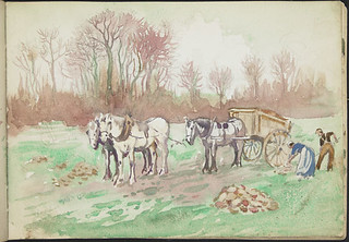 Two farmers in a field with two horses, and a horse and cart, France [Sketchbook 4, folio 15] / Deux fermiers dans un champ avec deux chevaux, et un cheval et une charette, France [Carnet de croquis 4, folio 15]