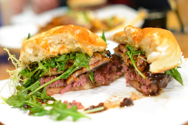Shogun Burger Wagyu Beef & Unagi, Pan Seared Foie Gras, Poached Asian Pear, Miso Butter, Yamamomo Peach