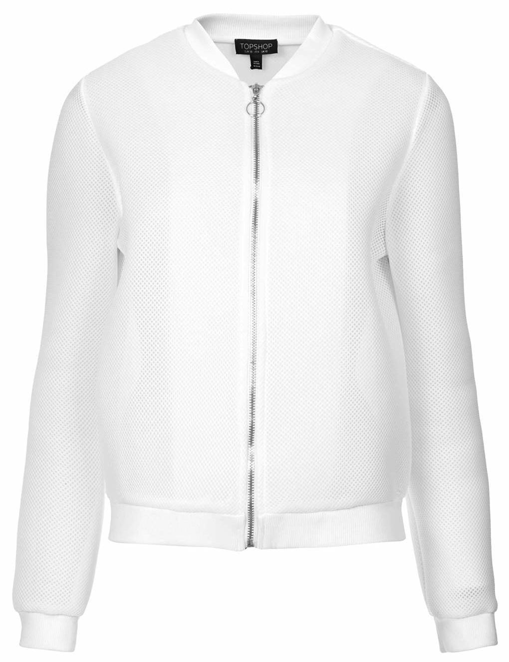 Topshop white airtex bomber jacket