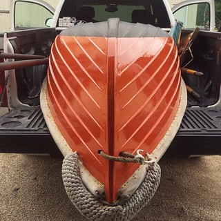 Dinghy movin' time. #woodenboat #sailing #sailboat #tender #ORANGE!