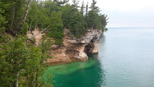 The famed carved out sandstone shoreline