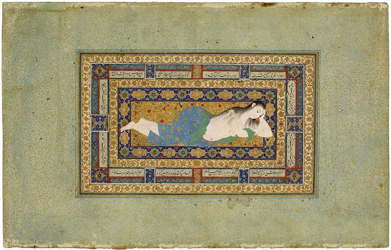 A Young Lady Reclining After a Bath بانوی جوان بعد استحمام