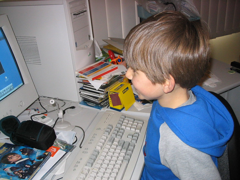 Jeremy using the computer, July 2004