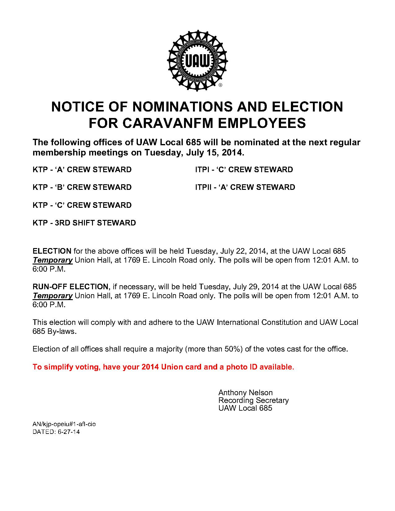 7-15-15 Caravan Knights Nominations and Election Notice_1