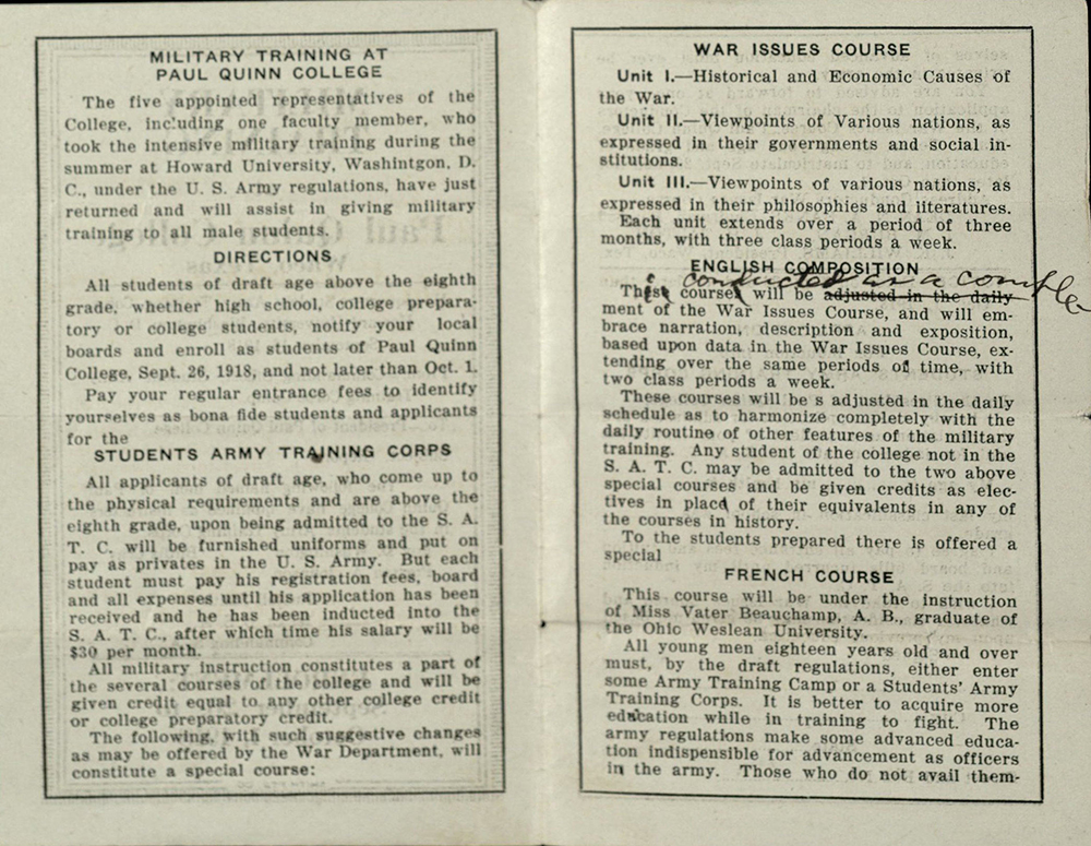 "Inside pages of ""Military Training at Paul Quinn College"" pamphlet"