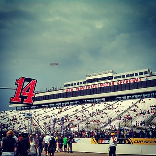 View from Tony Stewart's #14 pit yesterday pre-race #NHMS #newhampshire #NASCAR #stormyskies #sky #clouds #StewartHaasRacing #smoke