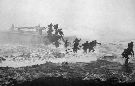 Jack Churchill desembarca con su espada en unas maniobras