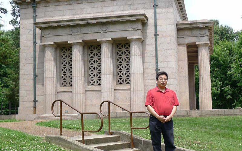 Me, standing before the left side of the Lincoln Birthplace Memorial, June of 2014