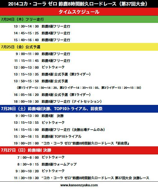 2014鈴鹿8耐タイムスケジュール