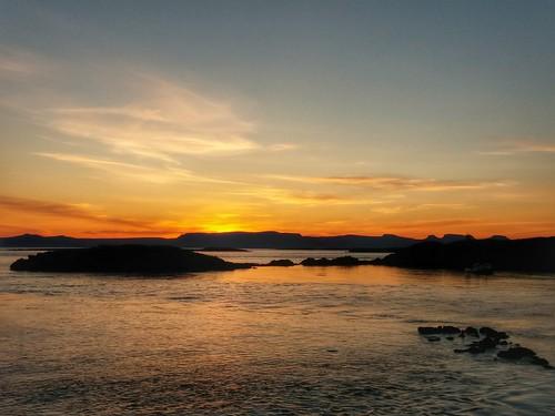 sunset landscape iceland flatey