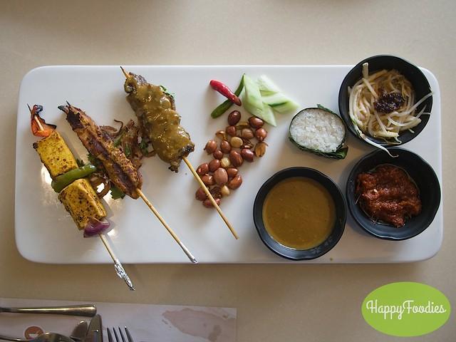 Grilled Bean Curd Tikka, Ayam Panggang, Beef Satay, Coconut rice with satay, sambal and rojak sauces