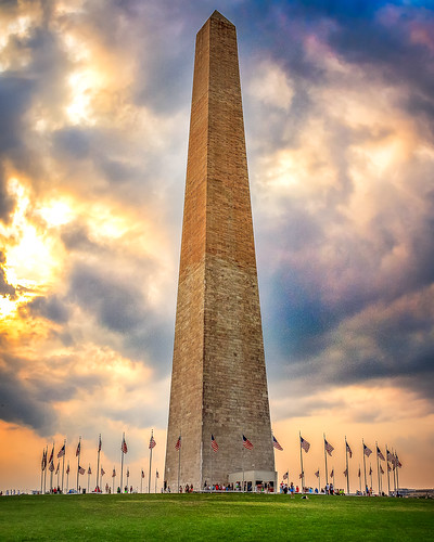 travel usa america landscape dc washington unitedstates flags obelisk washingtonmonument dramaticsky fiery sunsetgoldenlight