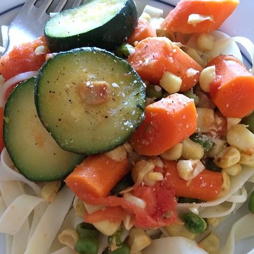 Tonight's dinner: grandpa's pasta with lots of veggies. Carrots, peas, corn and zucchini.