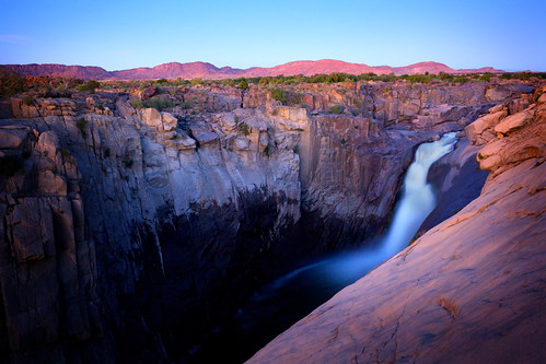 africa sunset nature water river landscape southafrica waterfall nationalpark movement rocks dusk rocky cliffs northerncape augrabies