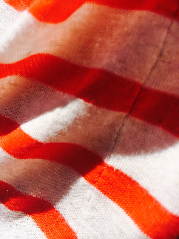 Hero Hoodie; In Tomato & Ivory Yarn-Dyed Stripe