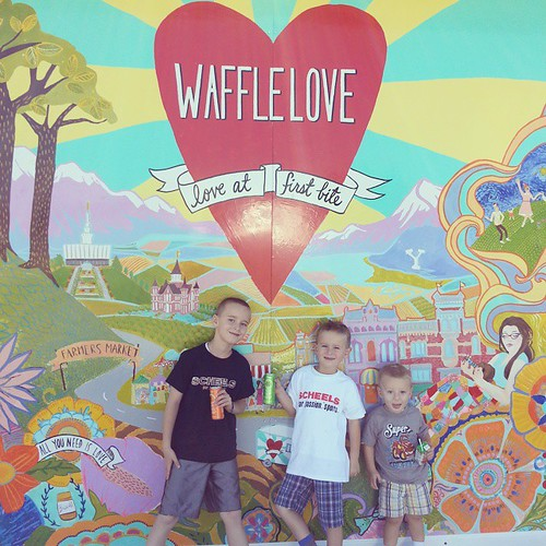 """Today's off track activity was wyatts choice.   He chose @waffluv """"restaurant"""" and the bean museum in Provo.  (Elliott chose the aviary last week lest you worry I might not be playing fair) #offtracksucksdeadgoat #offtrack #offtrackisalsoexpensive"""