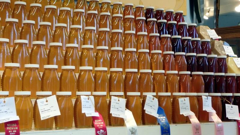 rows of honey jars