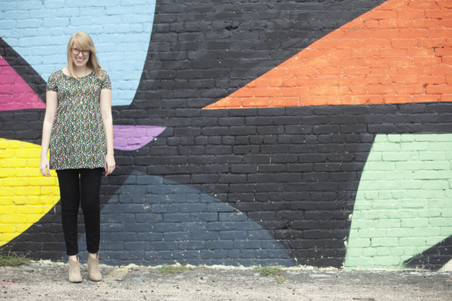 smock dress and skinny jeans