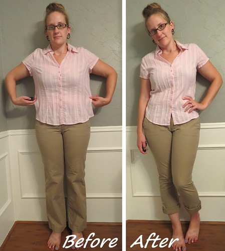 Pink Blouse and Khaki Skinnies - Before & After