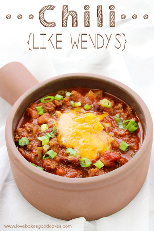 Chili {Like Wendy's} in a bowl with cheese.