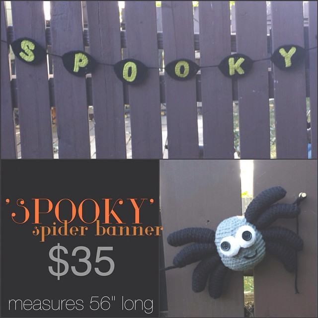 """'SPOOKY' spider banner, 56"""" long, $35+shipping. please leave email & location, first comment gets it! shipping costs: Canada-$10 US- $12"""