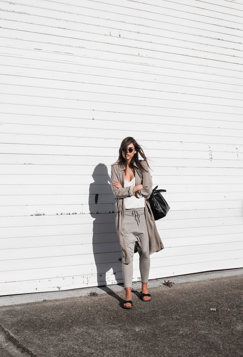 modern legacy fashion blog Australia fall Zara silky trench coat street style neutrals Bassike Birkenstock Madrid Alexander Wang bag (4 of 14)